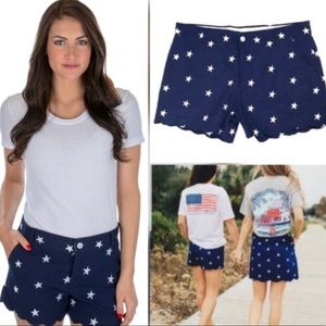 NWT Lauren James July 4th Stars Scalloped Shorts